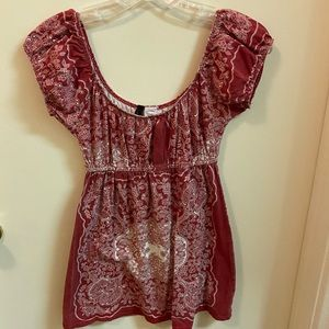 Red paisley-ish blouse